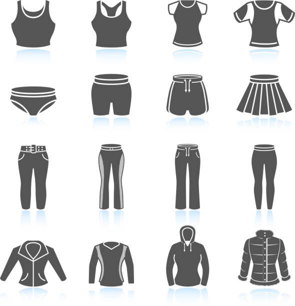 women's sport kleidung und outfits & weißen icon-set schwarz - damenmode stock-grafiken, -clipart, -cartoons und -symbole