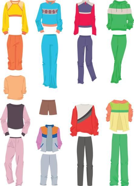 damen sportbekleidung - damenmode stock-grafiken, -clipart, -cartoons und -symbole