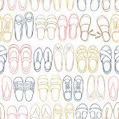 Women's summer shoes.  Vector seamless pattern.