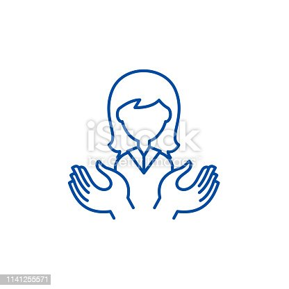 Womens support line concept icon. Womens support flat  vector website sign, outline symbol, illustration.