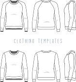 Women's basic sweatshirt, raglan sweater. Fashion illustration of sports uniform. Blank vector template of women's clothing set. White sweatshirt, sweater, pullover, jumper, tee, isolated on white.