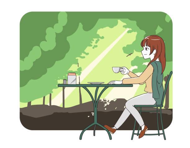 illustrazioni stock, clip art, cartoni animati e icone di tendenza di women's trousers spending time in a cafe forest - forest bathing