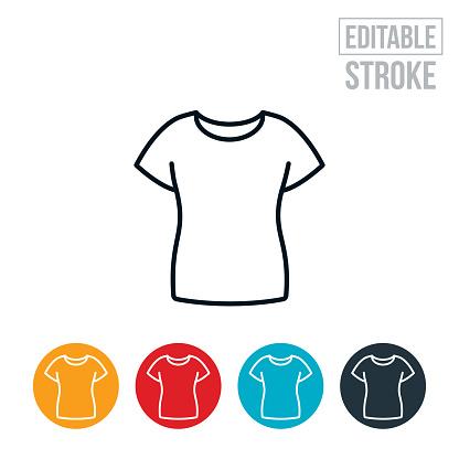 Women's T-Shirt Thin Line Icon - Editable Stroke