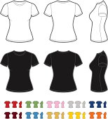 Vector template of classic women's t-shirt. Front, rear and side views. Easy color change.