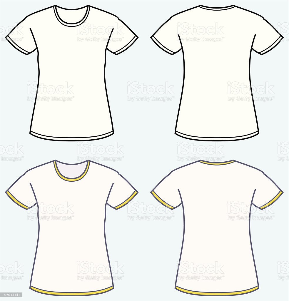 Women's t-shirt (front and back view) royalty-free womens tshirt stock vector art & more images of adult