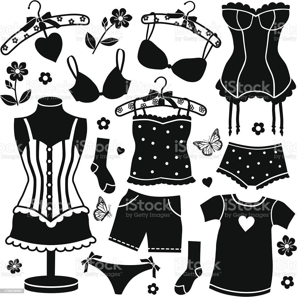 women's undergarments vector art illustration
