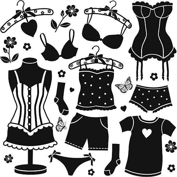 women's undergarments vector art illustration
