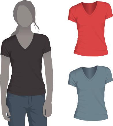 Women's V-Neck T-Shirt Mockup Template