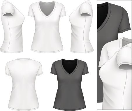 Women's v-neck t-shirt.