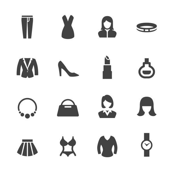 womens wear icons - acme-serie - damenmode stock-grafiken, -clipart, -cartoons und -symbole