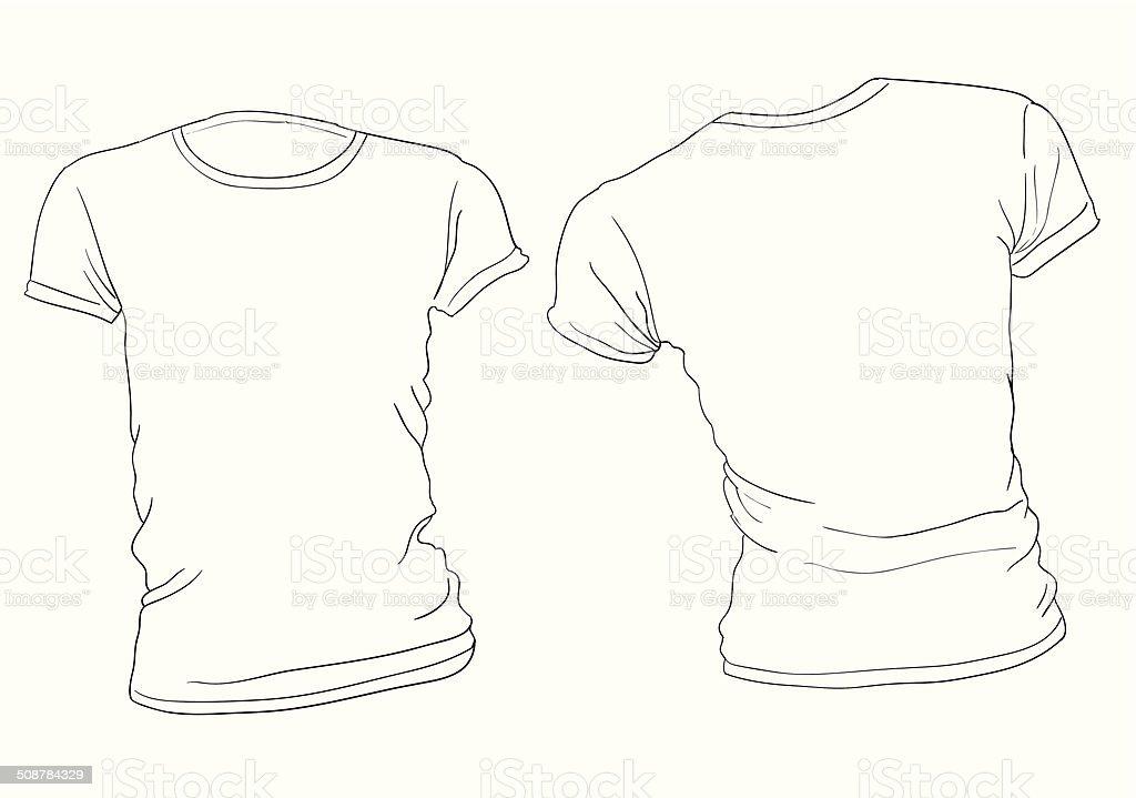 Weißen Tshirtvorlage Für Damen Stock Vektor Art und mehr Bilder von ...