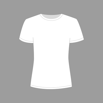 Womens white t-shirt with short sleeve. Shirt mockup in front view. Vector template illustration on gray background