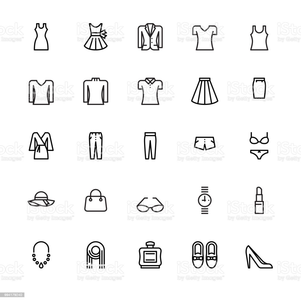 Damenmode und Accessoires-Symbole – Vektorgrafik