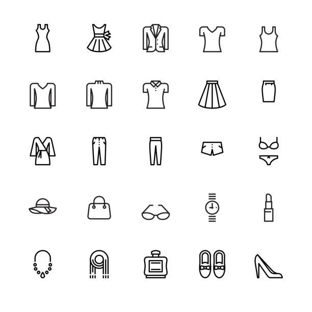 damenmode und accessoires-symbole - damenmode stock-grafiken, -clipart, -cartoons und -symbole