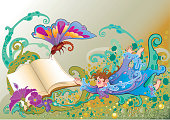 Beautiful fantasy illustration about boy and a book in wonderland.