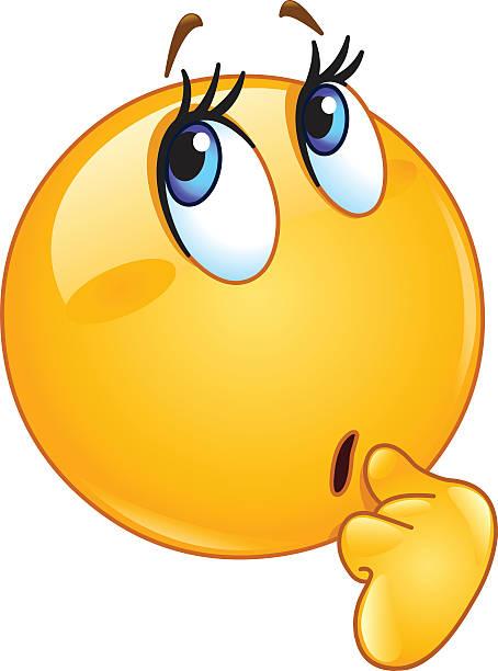 wonder weibliche emoticon - verwirrtes emoji stock-grafiken, -clipart, -cartoons und -symbole