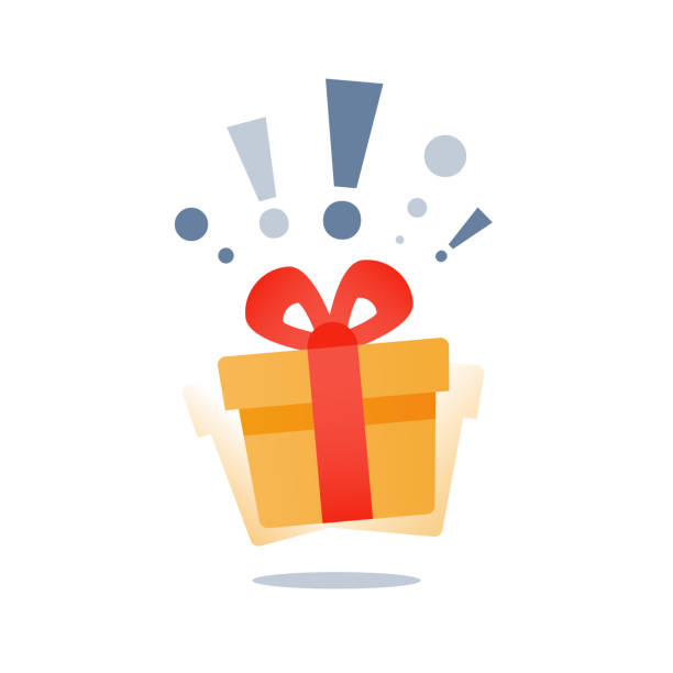Wonder gift with exclamation mark, delight present, surprise yellow gift box, special give away package, loyalty program reward Delight present, surprise yellow gift box, birthday celebration, special give away package, loyalty program reward, wonder gift with exclamation mark, vector icon, flat illustration perks stock illustrations