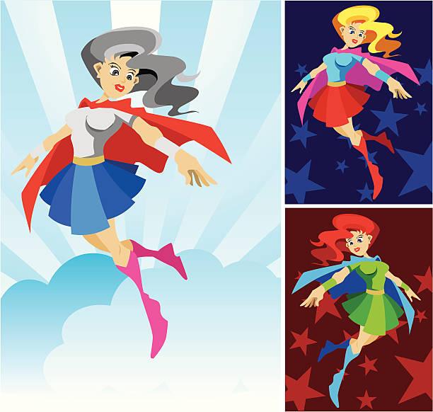 wonder lady super hero - byteandpixel stock illustrations