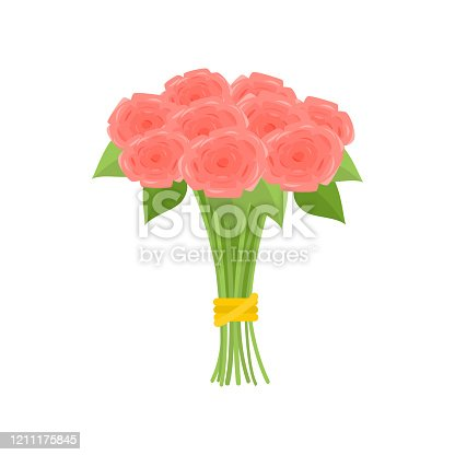 Wonderful bouquet of pink roses tied with yellow ribbon on empty background. Beautiful floral composition. Cartoon buds, leaves, stems. Greeting card gift icon template spring summer sticker