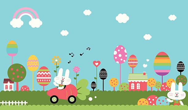 素敵なイースターのウサギ世界 - 草原点のイラスト素材/クリップアート素材/マンガ素材/アイコン素材