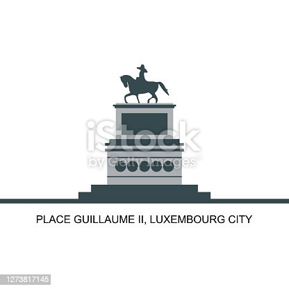 istock Wonderful view of the Town Hall in the Guillaume II Luxembourg city, Luxembourg. The equestrian statue of Grand Duke William II on the square. Historical places for tourists to visit. 1273817145