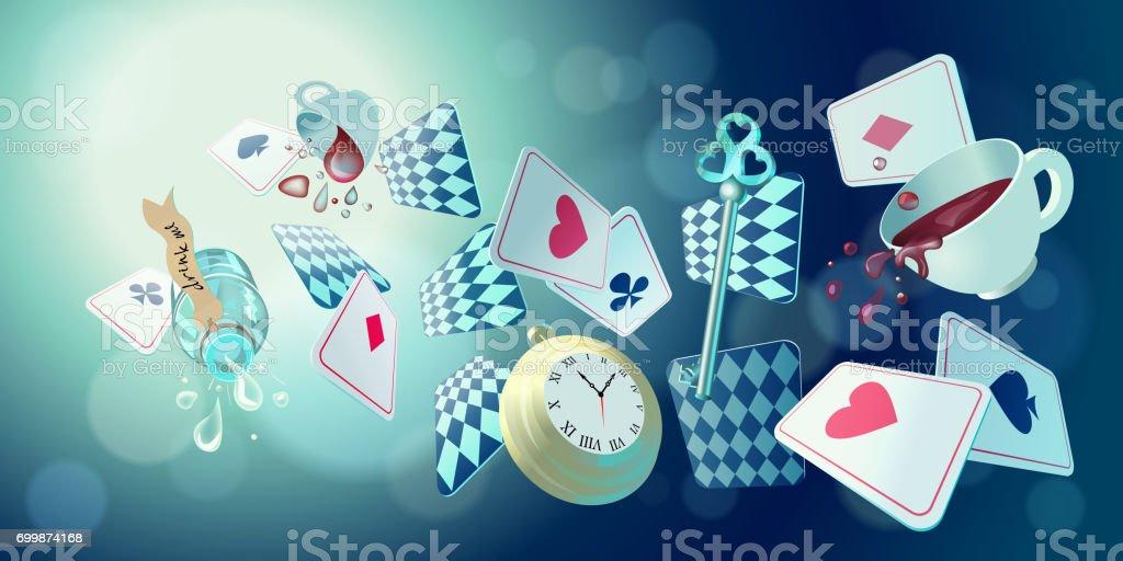 Wonderland background vector art illustration