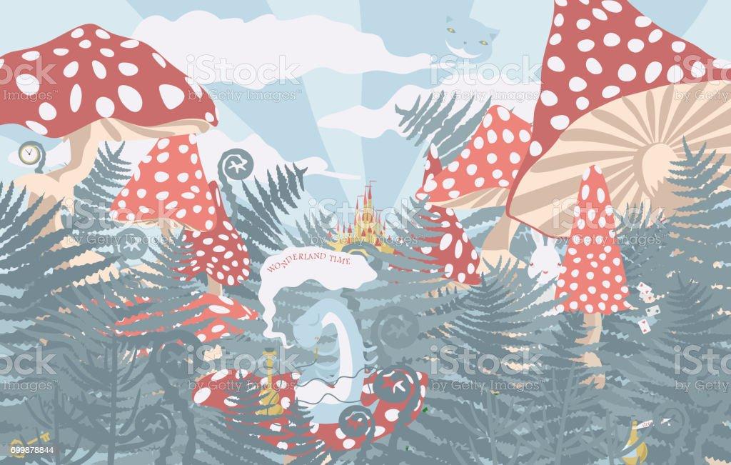 Antecedentes del país de las maravillas - ilustración de arte vectorial