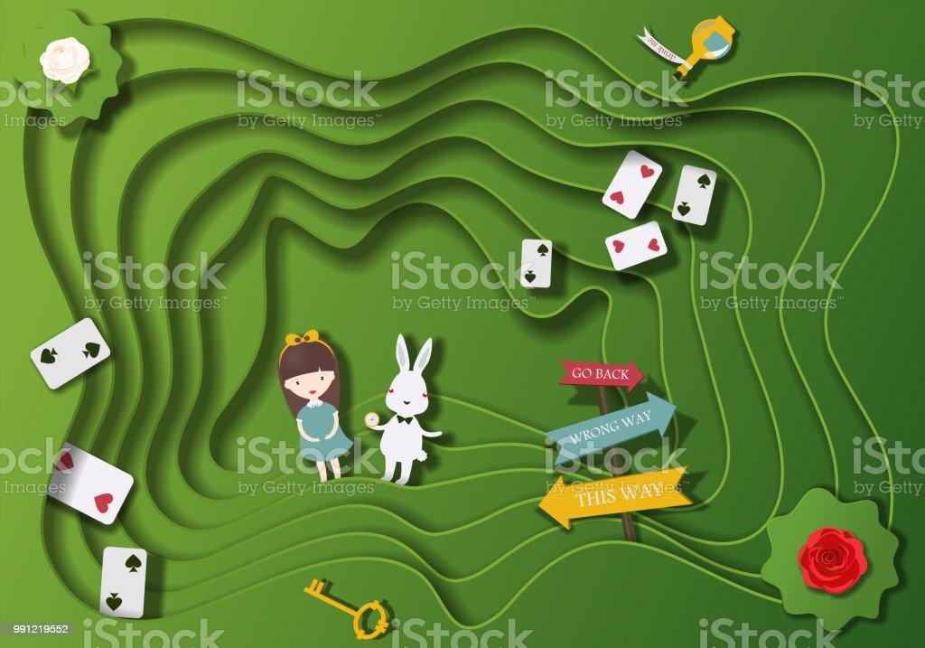 Paisaje fantástico país de las maravillas (los personajes de cuentos de fantasía Alicia en el país de las maravillas) corte de papel - ilustración de arte vectorial