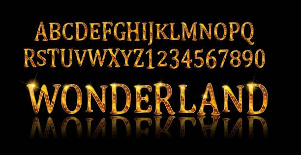 Police de Wonderland. Fée ABC - Illustration vectorielle