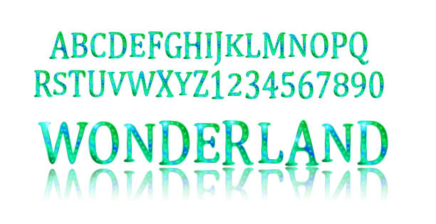 Police de Wonderland. Fée ABC. - Illustration vectorielle