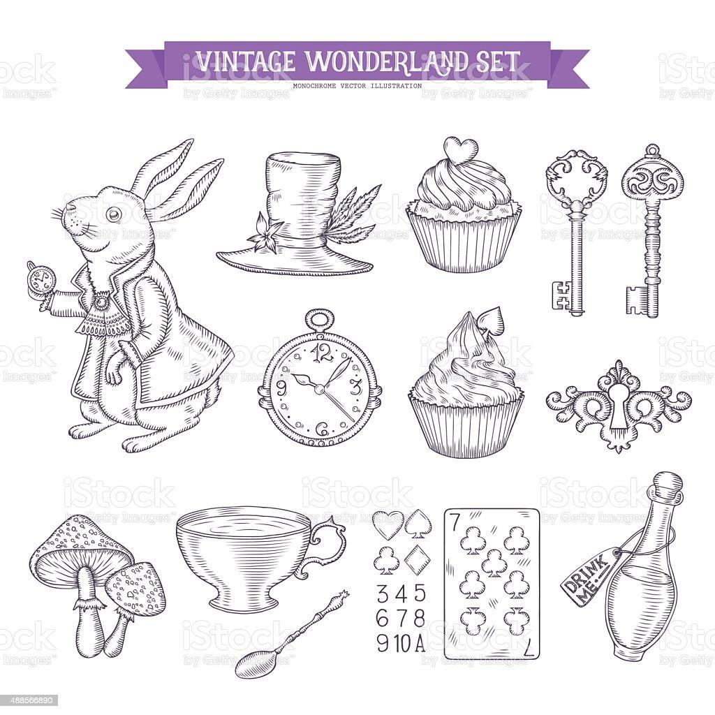 Wonderland disegno a mano set di elementi di design. - illustrazione arte vettoriale