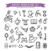 Wonderland hand drawn set of design elements. Vector vintage illustration.