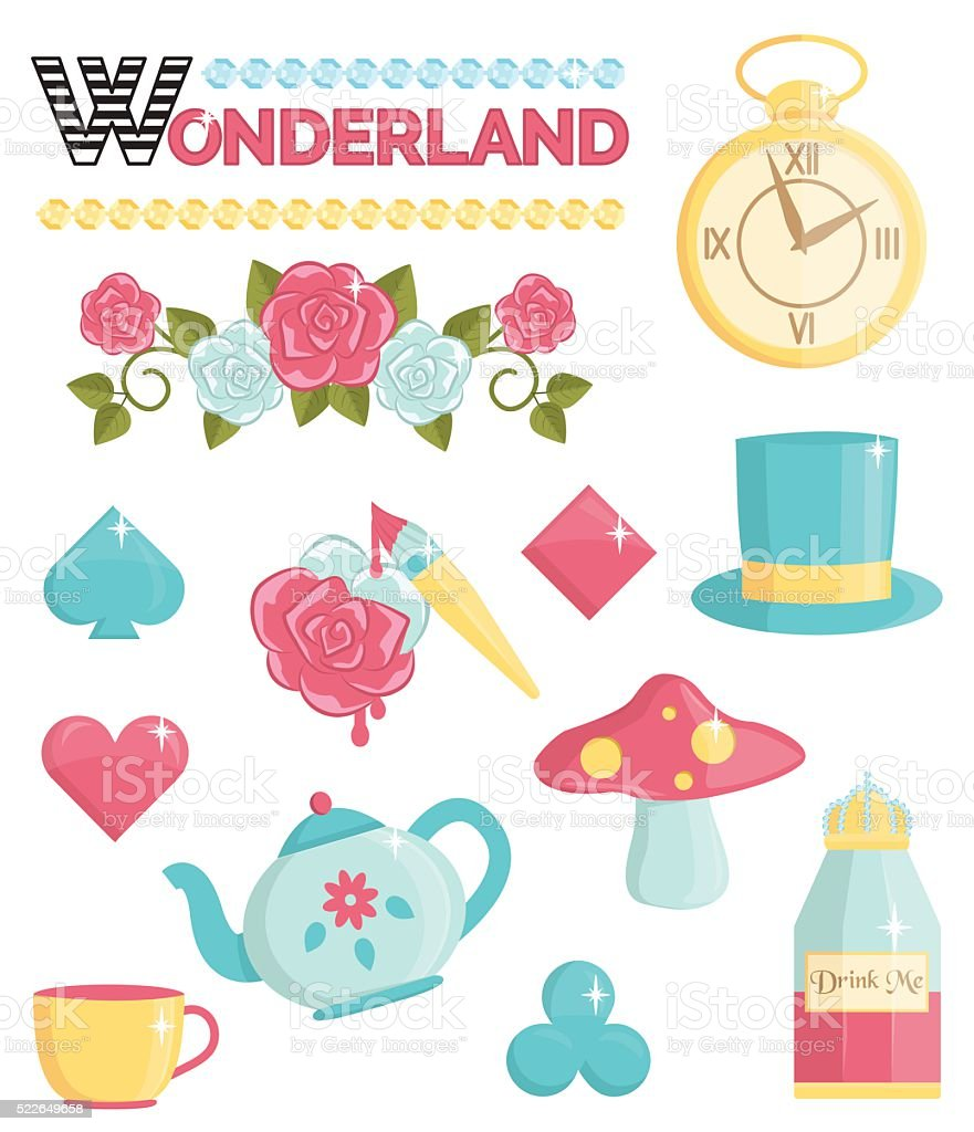 Wonderland magic dream illustrations set vector art illustration