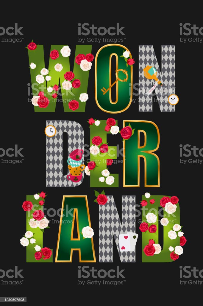 Wonderland Poster Beautiful Fantasy Letters With Green Leaves Red Roses And White Roses Gold Frame Key Clock And Cards Vector Illustration Stock Illustration Download Image Now Istock