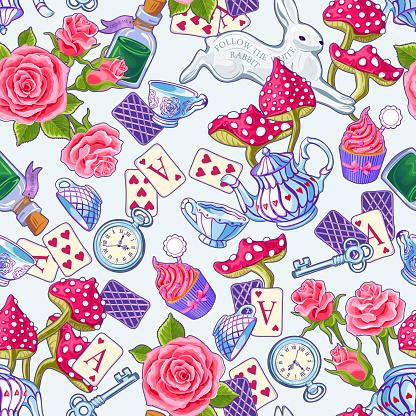 Wonderland seamless pattern. Bright colored cartoon doodles hand drawn detailed, with lots of objects background. Flowers, white rabbit, cards, mushroom. Texture for fabric, wallpaper,decorative print
