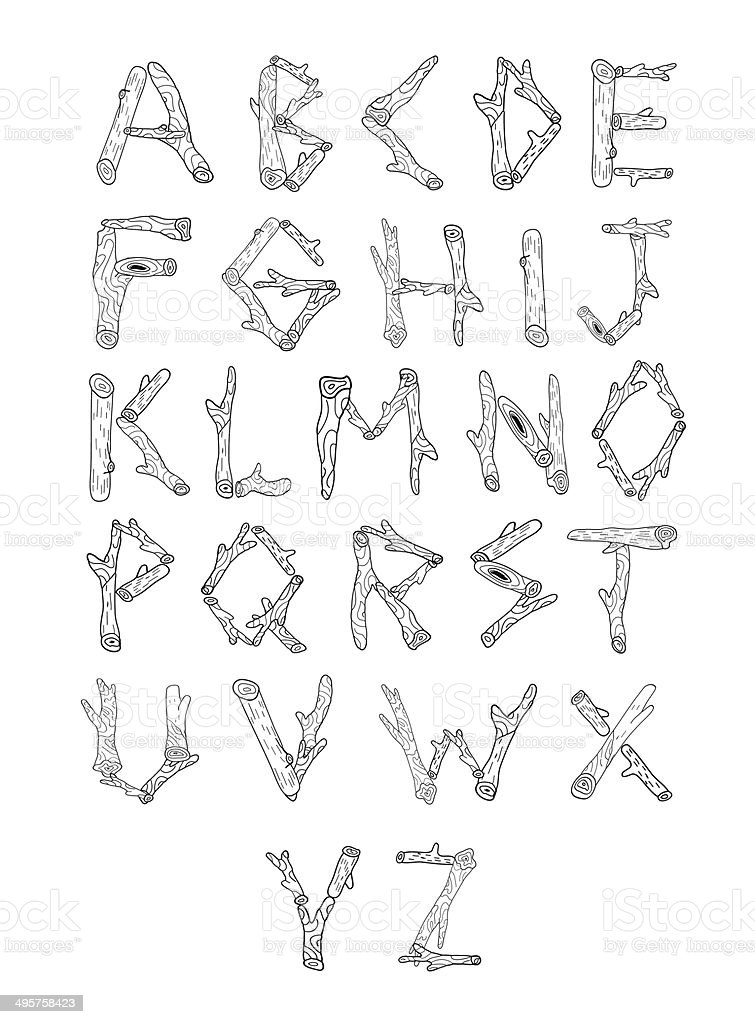 Wood alphabet made from logs. royalty-free stock vector art