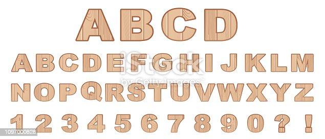 Vector wood Alphabet