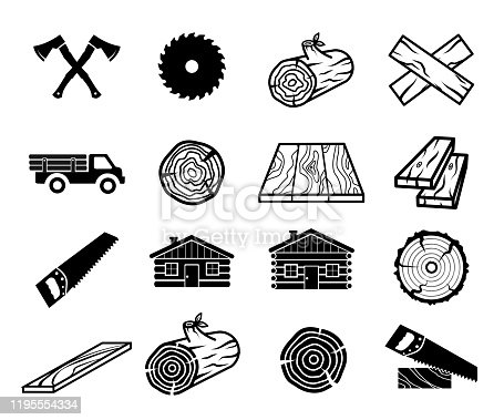 Wood and carpentry icon set vector collection art