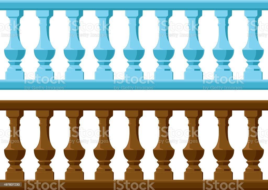 wood and Stone railing vector art illustration