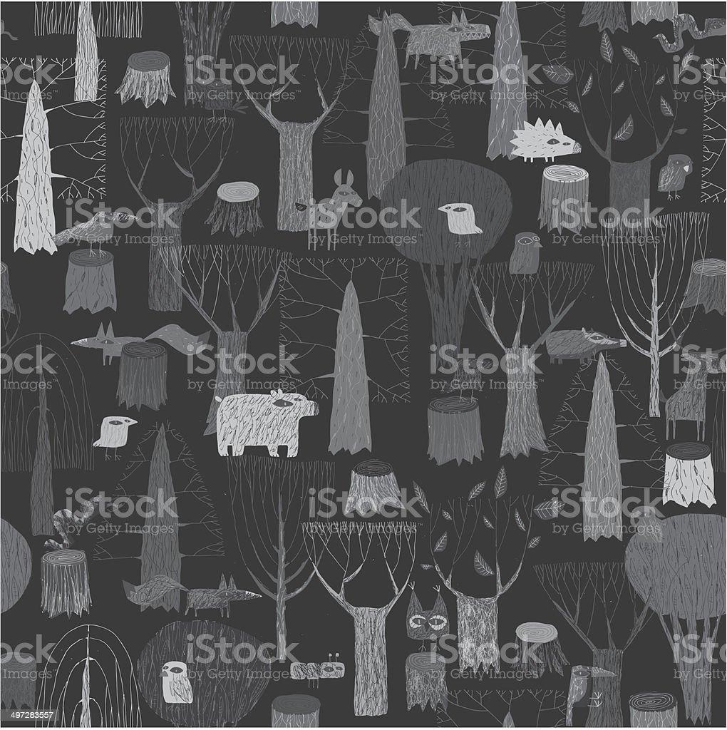 Wandteppich Holz Tiere Nahtlose Muster In Grau Stock Vektor Art Und