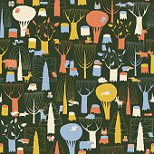 Wood Animals tapestry seamless pattern in retro colors