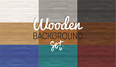 Set of wooden backgrounds. Wood table texture. Vector plank board template. Different colors.