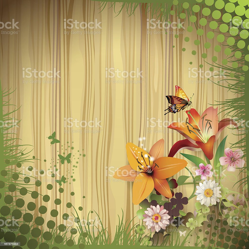 Wood background with lilies royalty-free stock vector art