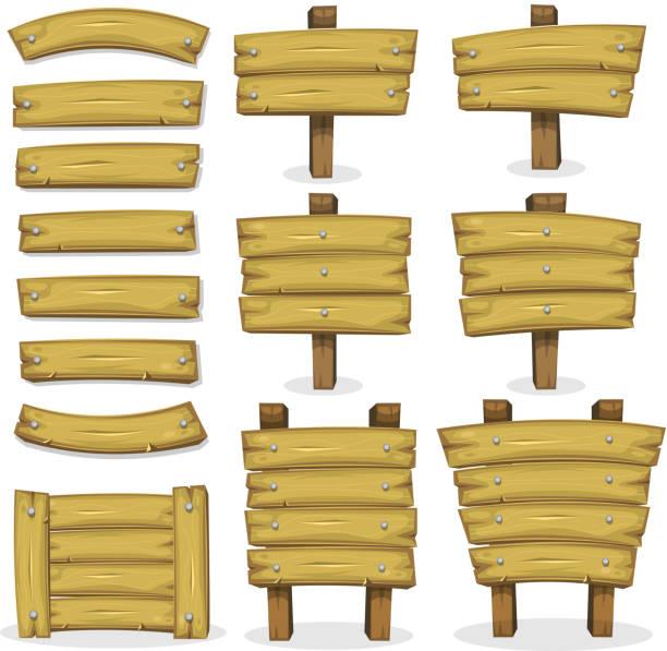wood banner, einsätze und der beschilderung für ui-spiel - nagelplatte stock-grafiken, -clipart, -cartoons und -symbole