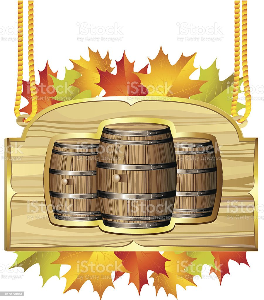 Wood barrel for wine royalty-free stock vector art