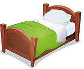 Vector illustration of a cartoon wooden children bed for boys and girls with pillows and green blanket. File is EPS10 and uses multiply and overlay transparency. Vector eps and high resolution jpeg files included