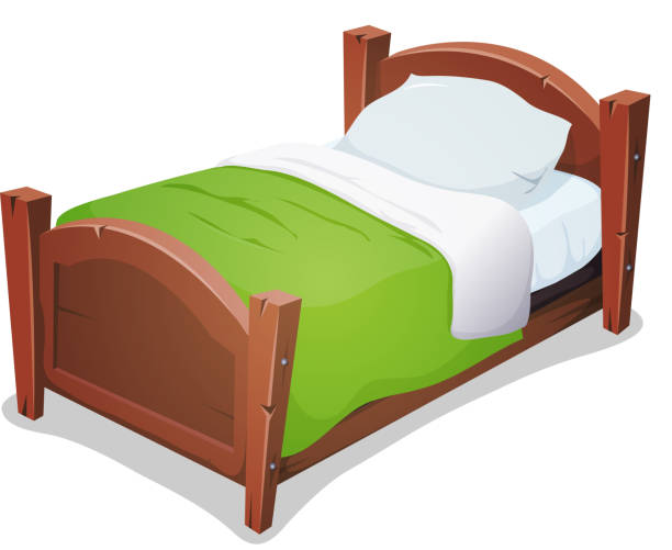 wood bed with green blanket - bed stock illustrations