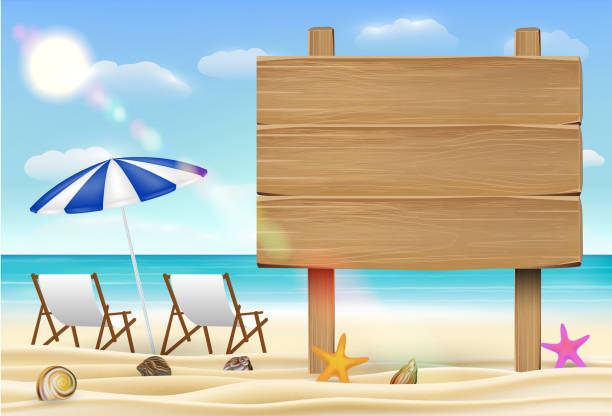 wood board sign on sea sand beach with relax chair vector art illustration