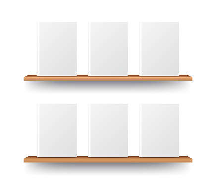 Wood bookshelf mockup for web presentation