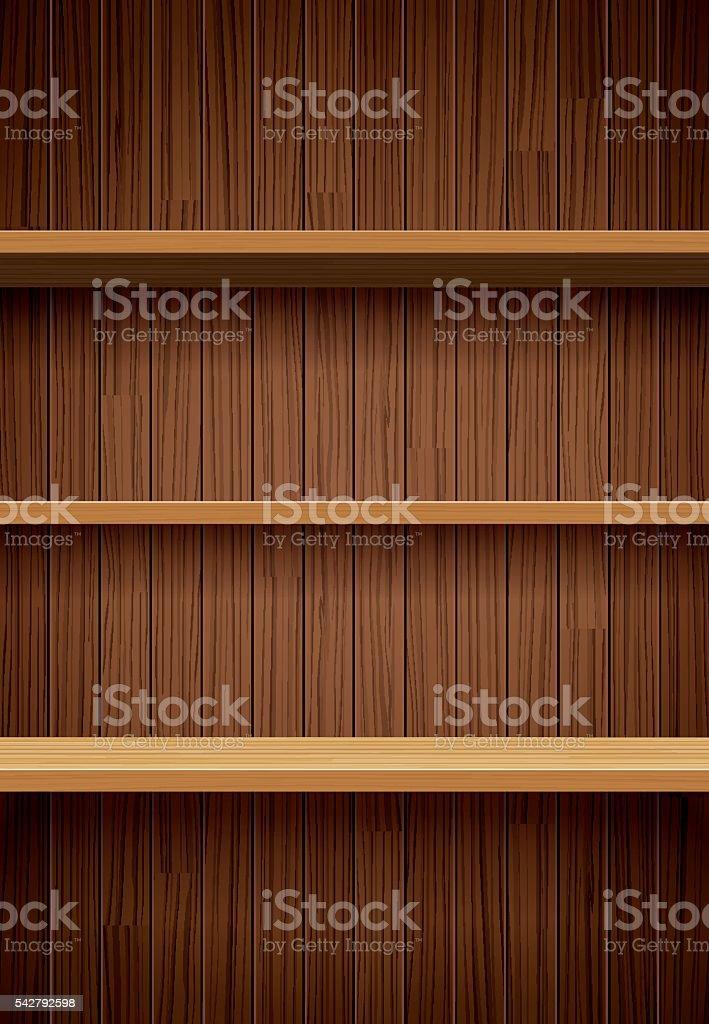 Une Bibliotheque En Bois Sur Fond Marron Mur En Bois A Motif
